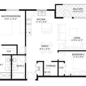 Floorplan A1 Saratoga Condominiums Saskatoon
