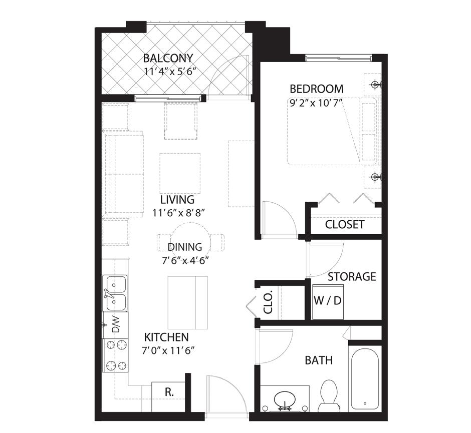Floorplan E1 Saratoga Condominiums Saskatoon
